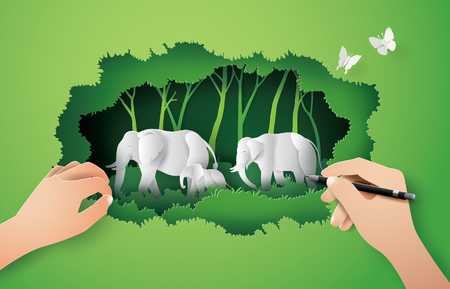 World elephant Day ,family of elephant in the forest , Paper art and digital craft style. Illustration