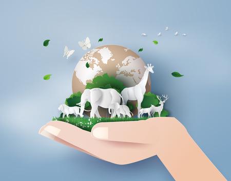 Concept de la journée mondiale de la faune avec l'animal dans la forêt, l'art du papier et le style de l'artisanat numérique.