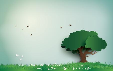 árbol solo en el campo con día claro. arte en papel y estilo artesanal digital. Ilustración de vector
