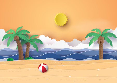 Summer beach and palm trees on the beach. Paper art and digital craft style.