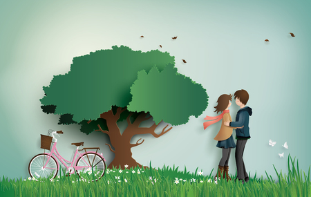 Illustration of love and valentines Day,  with couple standing hugging on a grass field with pink bicycle and big tree.paper art  style.