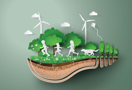 Concept of ecology  and environment with children running in the  park . Paper art and digital craft style.