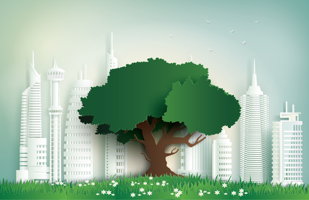 alone tree on the field in city.Paper art and digital craft style.