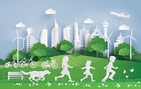 Illustration von Öko und Umwelt mit Kindern, die im Stadtpark laufen. Papierkunst und digitaler Bastelstil. Vektorgrafik