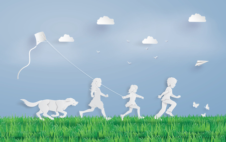Illustration of eco concept and environment with children running field. Paper art and digital craft style. Imagens - 103079207