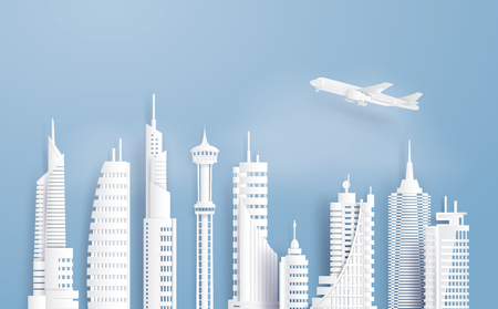 Urban cityscape with large modern buildings, Paper art and digital craft style.