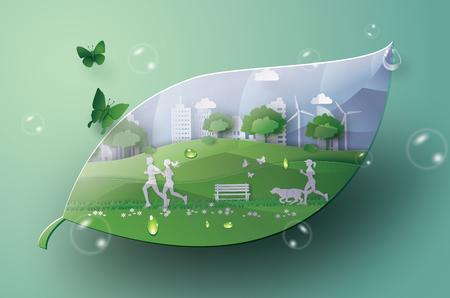 Illustrazione del concetto di eco, città verde nella foglia. Arte su carta e stile artigianale digitale.