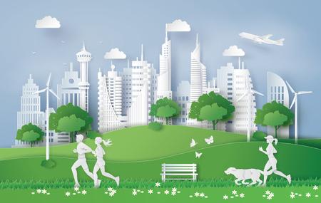 Illustration des Öko-Konzepts, grüne Stadt im Blatt. Papierkunst und digitaler Bastelstil. Vektorgrafik