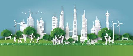 respetuoso con el medio ambiente, salve la tierra y el día mundial del medio ambiente con la familia, el arte en papel y el estilo de artesanía digital