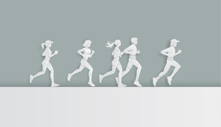 Vector illustration running marathon,Man and Woman running, Paper art and digital craft style.