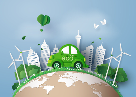 Eco-friendly car in the city.paper art and digital craft style. Ilustracja