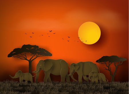 World elephant Day ,family of elephant in the grass with sunset , Paper art and digital craft style.