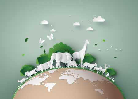 World Wildlife Day with the animal in forest , Paper art and digital craft style.