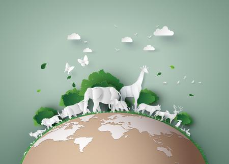 Día Mundial de la Vida Silvestre con el animal en el bosque, arte en papel y estilo artesanal digital.