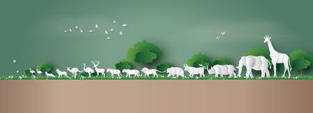 Giornata mondiale della fauna selvatica con l'animale nella foresta, arte su carta e stile artigianale digitale. Vettoriali