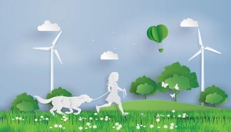 Ilustración del concepto ecológico y el medio ambiente con niños corriendo en el campo. Arte en papel y estilo artesanal digital.