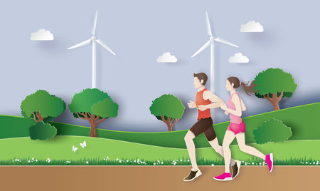 Vector illustration of jogging running , couple runing in the park.  Paper art and digital craft style.
