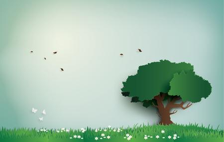 árbol solo en el campo con día claro. arte en papel y estilo artesanal digital.