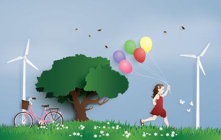 la niña corriendo en el campo con globo. Estilo de arte de papel.