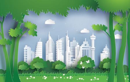 Illustration von Ökologie und Umwelt mit grüner Stadt. Papierkunst und digitaler Bastelstil. Vektorgrafik