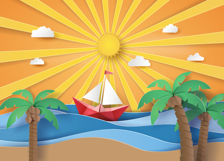 Summer beach and palm trees on the beach with  sailboat. Paper art and digital craft style.