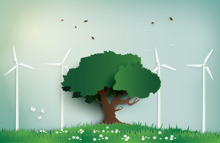 alone tree on the field with wind mill.Paper art and digital craft style.