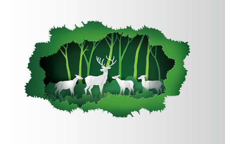 deers in the forest.paper cut style