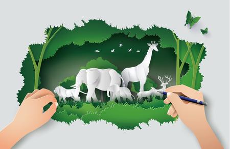 Koncepcja rysunku odręcznego ze Światowym Dniem Przyrody ze zwierzęciem w lesie, sztuki papieru i stylu cyfrowego rzemiosła.