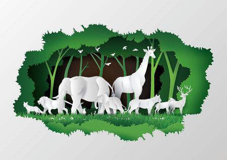 Concept of World Wildlife Day with the animal in frame tree , Paper art and digital craft style. Иллюстрация