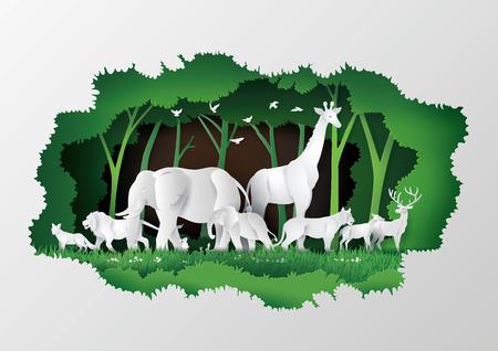 Concepto del Día Mundial de la Vida Silvestre con el animal en el árbol del marco, arte en papel y estilo de artesanía digital.