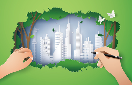 hand drawing  ecology  and environment with green city.paper art and digital craft style Иллюстрация