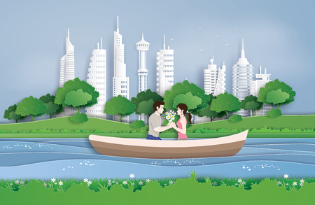 Couples cruise in the pool at city park. paper art and digital craft style