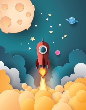 Wystrzelenie rakiety kosmicznej i galaktyka. Papierowy styl.