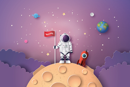 Astronaut with Flag on the moon, Paper art and digital craft style.