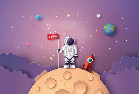 Astronaut mit Flagge auf dem Mond, Papierkunst und digitalem Handwerksstil.