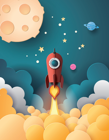 Lancio di un razzo spaziale e stile artistico galassia.