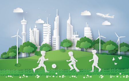 eco concept with boy plaing football in the city park , Paper art and digital craft style. Ilustração
