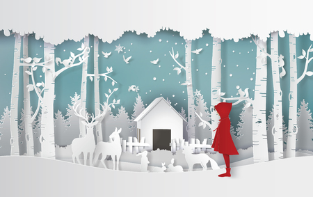 winter season with the girl in red coat and the animal in the jungle.Paper art and craft style. Ilustração