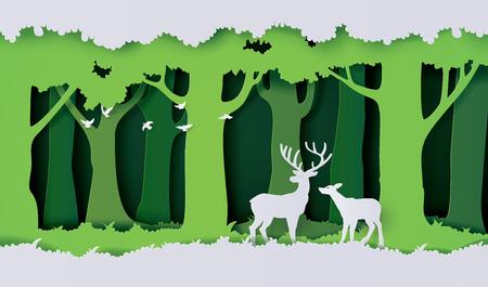 ciervos en el bosque estilo de corte de papel. Ilustración de vector