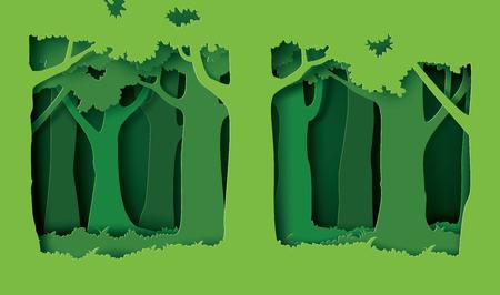 las z drzewami i trawą. styl sztuki papieru Ilustracje wektorowe