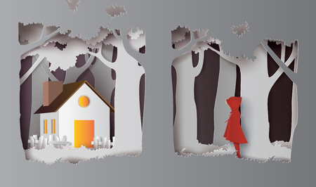 winter season with the girl wear red topcoat in the forest. Paper art and craft style.