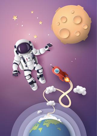 Astronauta Astronauta flotando en la estratosfera. Arte en papel y estilo artesanal.