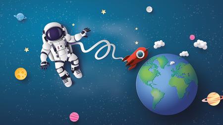 Astronaute Astronaute flottant dans la stratosphère. Art du papier et style artisanal.