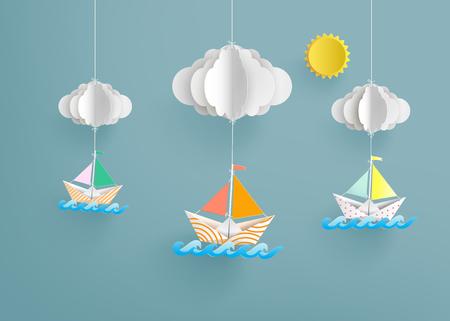bateau à voile en papier coloré en origami. Papier Art et style artisanal.