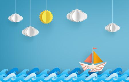 barco de vela de papel colorido hecho en origami