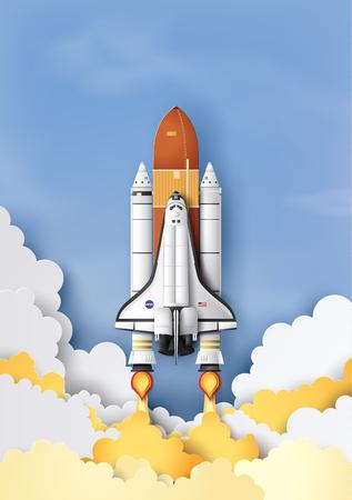 Koncepcja biznesowa promu kosmicznego wystrzeliwuje w niebo, sztuka papierowa i styl rzemiosła. Ilustracje wektorowe