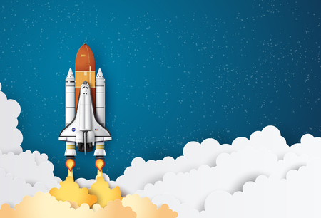 Start des Business-Konzept-Space-Shuttles in den Himmel, Papierkunst und Bastelstil.
