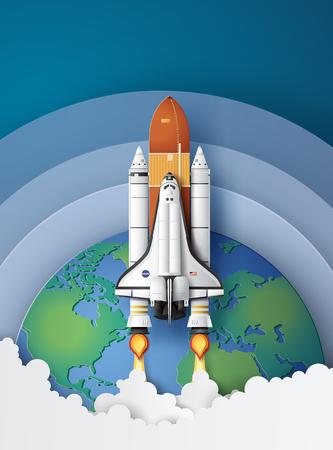 Business concept spaceshuttle lancering naar de lucht, papierkunst en ambachtelijke stijl. Vector Illustratie