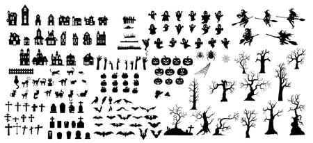 Sammlung von Halloween-Silhouetten Symbol und Charakter. Standard-Bild - 105135521