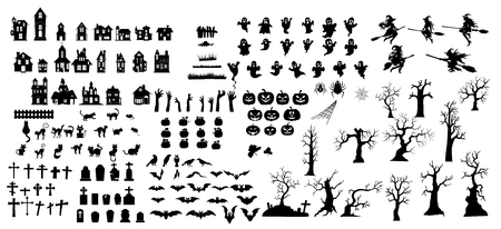 Collection of halloween silhouettes icon and  character.